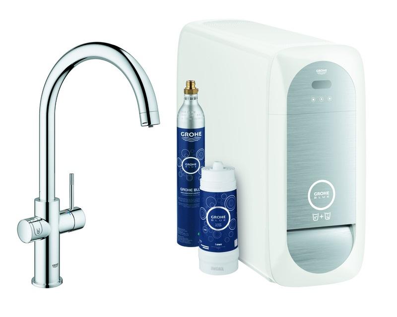 Grohe Blue Spültischarmatur mit C-Auslauf - Home Starter Kit Bluetooth/WIFI