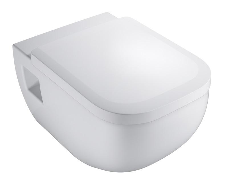 VIGOUR Derby Wand-WC Spülrandlos +  WC-Sitz mit Absenkautomatik Weiß
